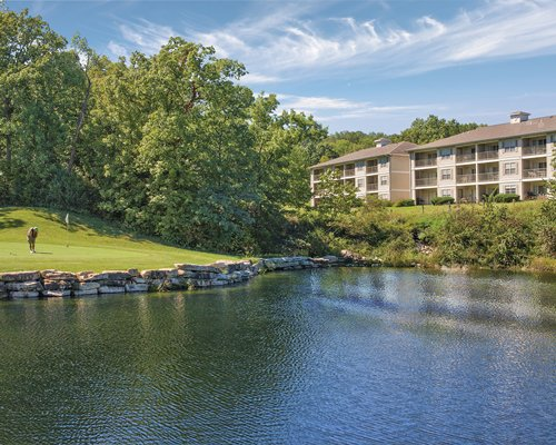 A lake view of the WorldMark Branson resort.