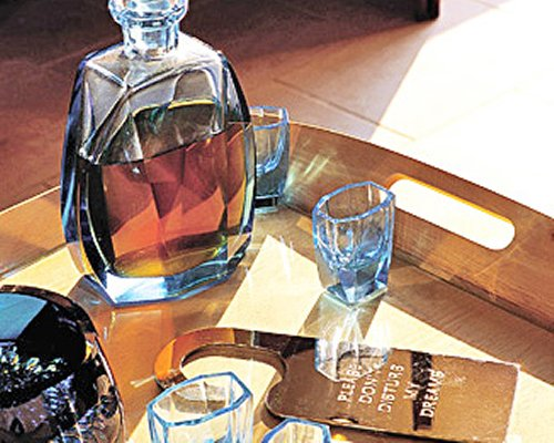 A view of liquor on a table.