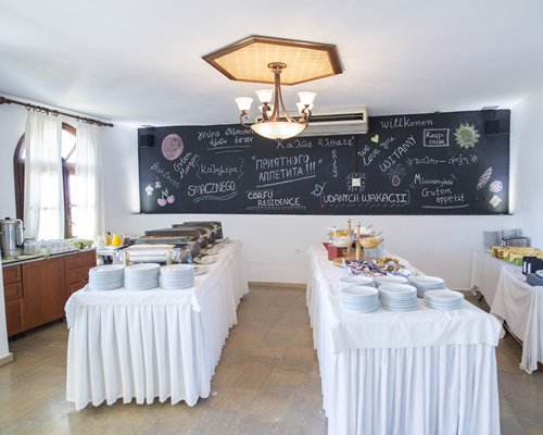 Indoor restaurant with buffet at Corfu Residence.