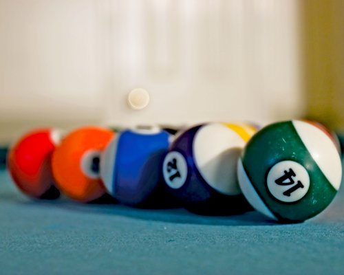 A billiards ball set.