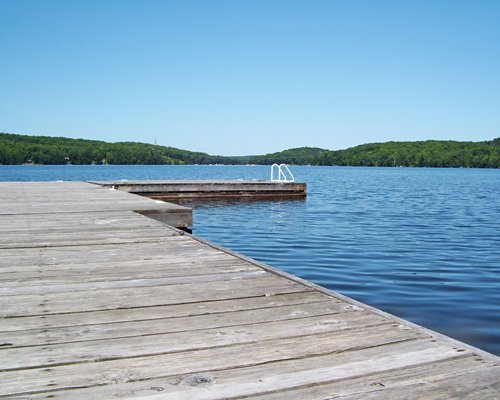 A wooden pier leading to a lakefront.
