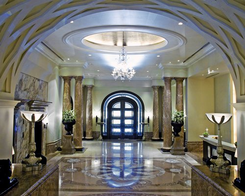 Interior view of the entrance at Hilton Mumbai Internaational Airport Hotel.