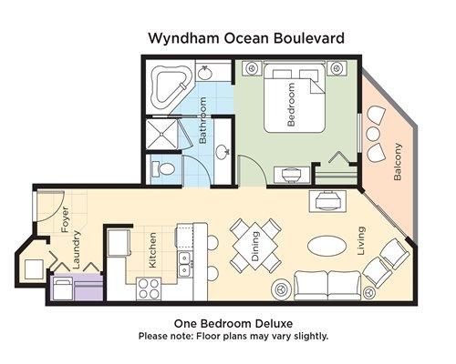 One Bedroom Deluxe floor plan.