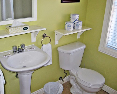 A bathroom with an enclosed toilet and single sink vanity.