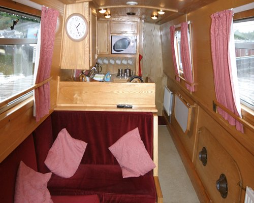 A well furnished boat house cabin.