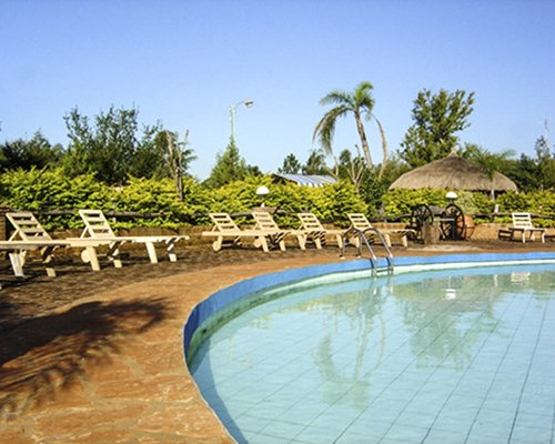 An outdoor swimming pool with chaise lounge chairs and thatched sunshade.
