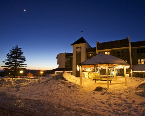 View of Bolton Valley Resort Lodge at dusk.
