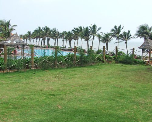 Scenic view of an outdoor swimming pool with coconut trees.