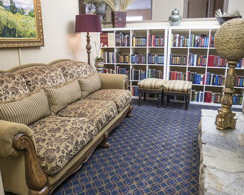 Lounge area with a mini library.