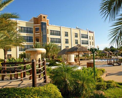 A scenic exterior view of the Complejo Turistico Y Recreational Villa Caribe resort.
