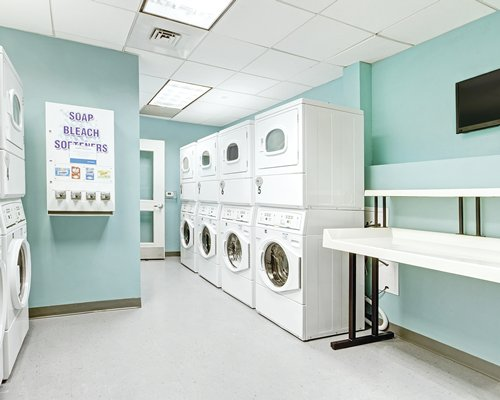 An indoor laundry area.
