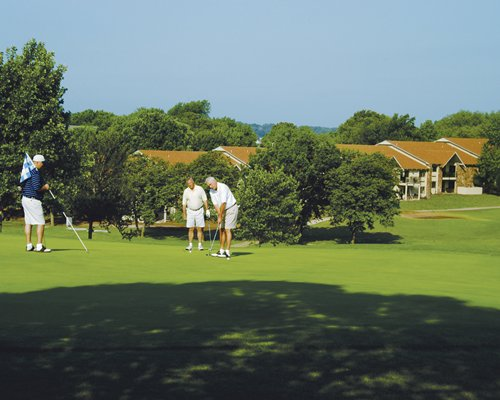 Set of people playing golf course.