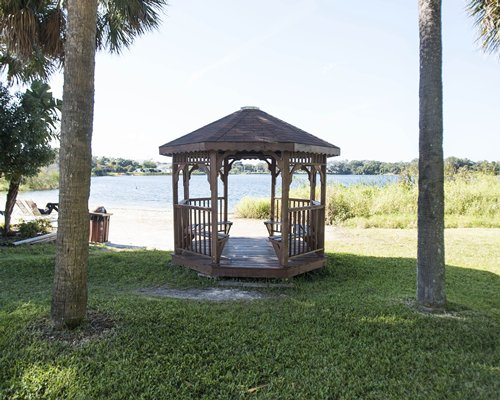 A gazebo alongside the ocean.