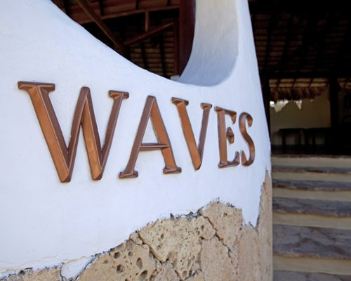 Signboard of waves at the resort.