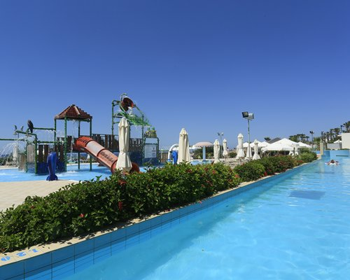 Large outdoor swimming pool and water theme park.