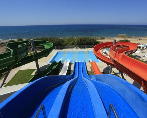 A view of the water slide alongside the beach.