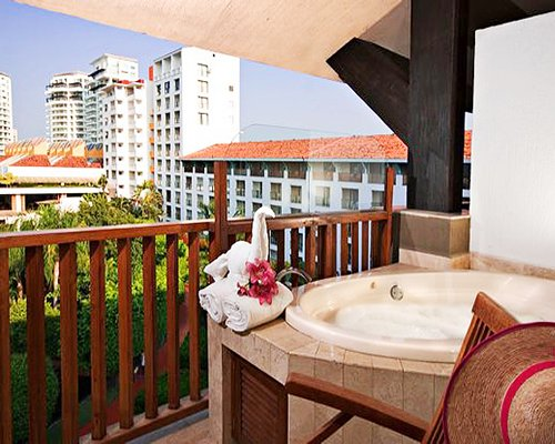 Interior view of Club Melia at Melia Puerto Vallarta from the balcony with hot tub.