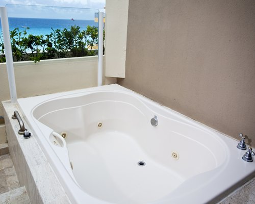 A two person jacuzzi tub.