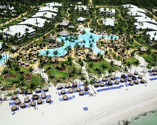 An aerial view of the resort property facing the beach.