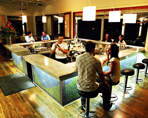 A well stocked indoor bar.