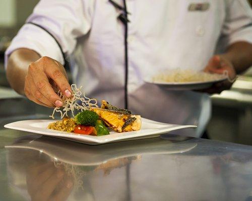 A chef preparing food.