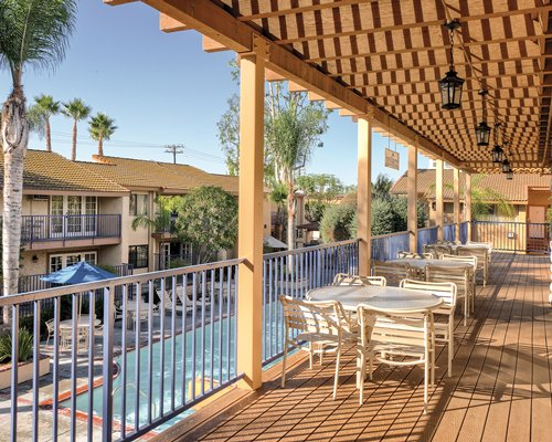 Balcony view of the outdoor swimming pool at WorldMark Dolphin's Cove.