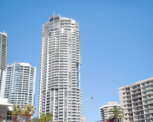 Exterior view of buildings and skyscrapers.