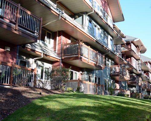 Ground view of the multi story resort balconies.