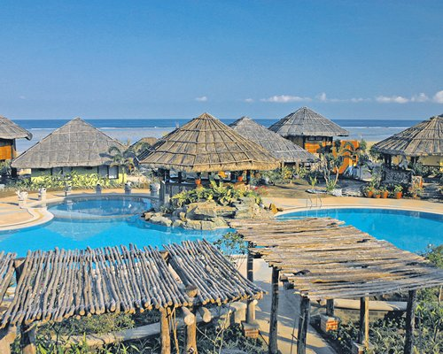 Outdoor swimming pool with thatched covered bar alongside the ocean.