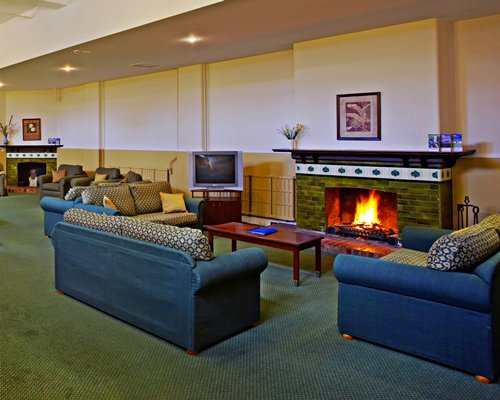 A well furnished living room with television and fire in the fireplace.