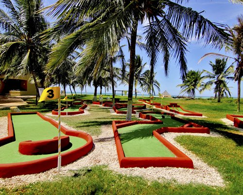 View of miniature golf with coconut trees.