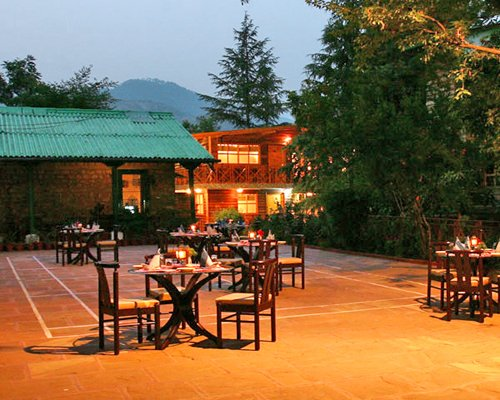 Night view of an outdoor fine dining area of the Mountain Club.