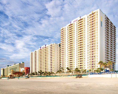 An exterior view of the multi story WorldMark Ocean Walk resort.