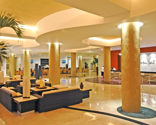 Reception and lounge area at Marival Resort & Suites.