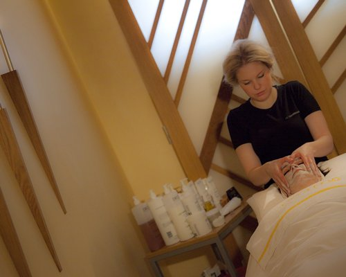 A woman having a massage at the spa.