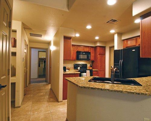 An open plan kitchen.