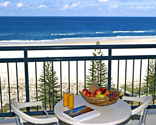 Beach view from the balcony of Wyndham Kirra Beach resort.