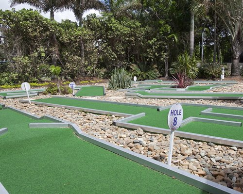 An outdoor miniature golf course with trees.