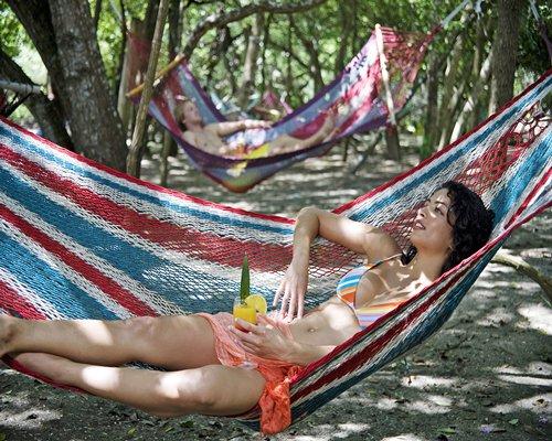 A lady in a hammock.