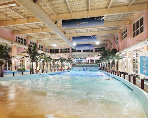 An indoor waterpia at the resort.