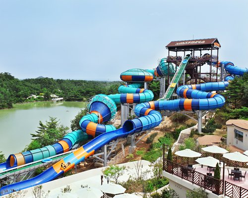 Waterpark alongside the waterfront with wooded area.