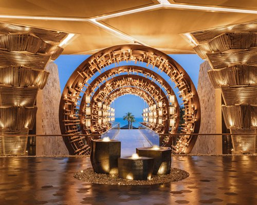 Reception and lounge area at The Grand Mayan at Vidanta Cabos.