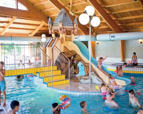 View of kids at the indoor water park.