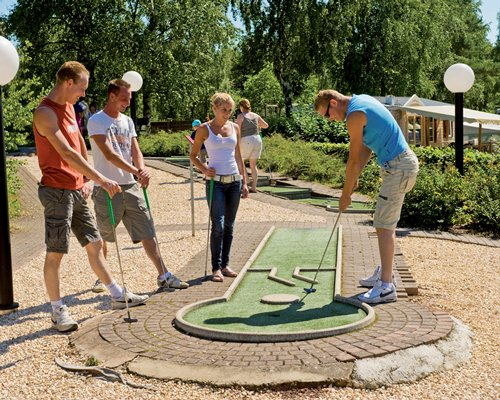 A group of people playing golf on the golf miniature.