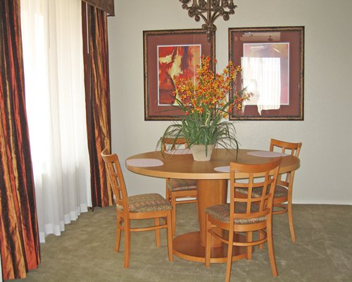 A well furnished dining room at the resort.