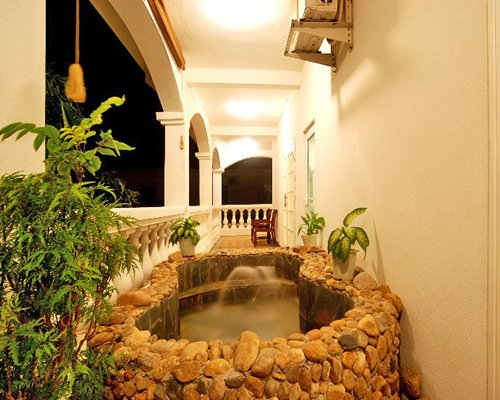 Balcony with the water fountain.