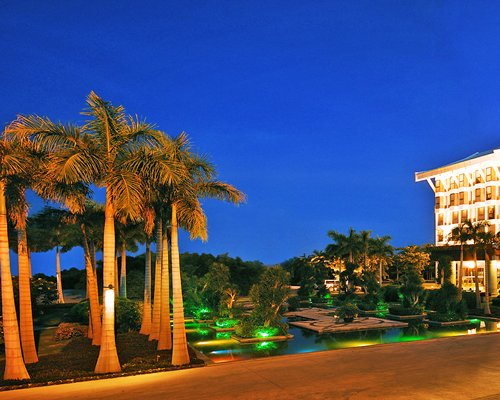 A street view of multi story resort units with palm trees at night.