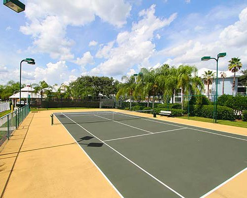 An outdoor tennis courts.