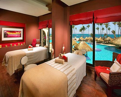 Massage beds at the spa with outside view.
