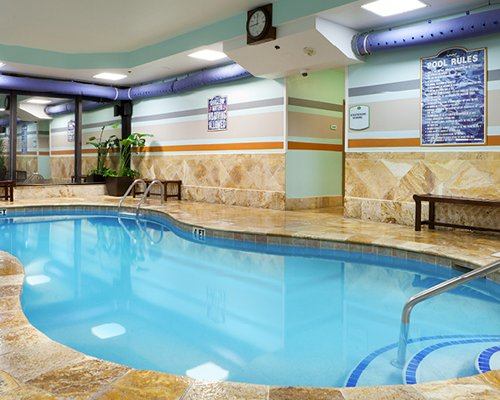 An indoor swimming pool.